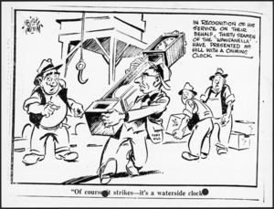 Colvin, Neville Maurice, 1918-1991 :Of course it strikes - it's a waterside clock. Evening Post [1951].