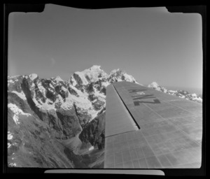View from South Pacific Airlines of New Zealand (SPANZ) plane of Milford Sound area, Southland Region