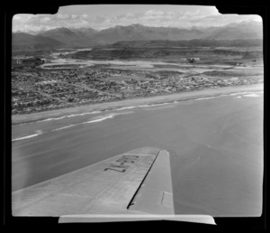 View from South Pacific Airlines of New Zealand (SPANZ) plane of Hokitika, Westland District, West Coast Region