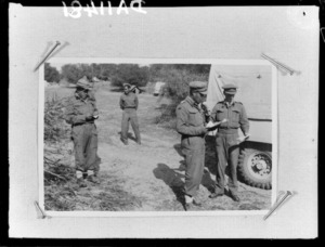Members of 28 (Maori) Battalion with Broadcasting Unit - Photograph taken by Dr C N D'Arcy