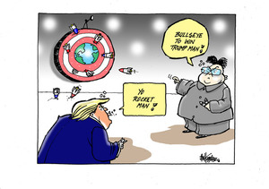 """Bullseye to win Trump man!"" ""Yo rocket man!"""