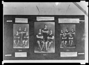 Three prints of student athletes on album page, King's College, Remuera, Auckland