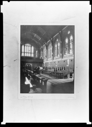 Interior of chapel associated with King's College, Auckland