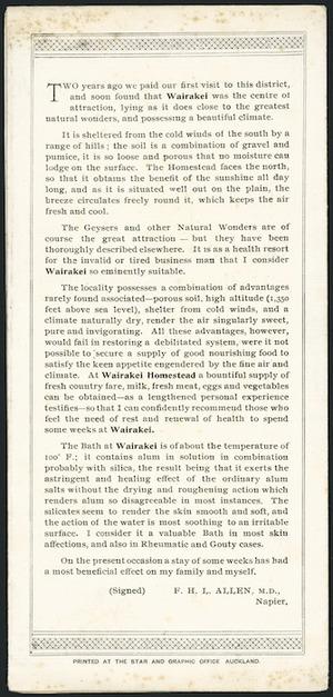 """Allen, F H L (Dr), fl 1890s? """"[Letter recommending Wairakei. 1890s?]"""