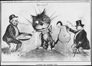 Lloyd, Trevor, 1863-1937 :Catching the soldiers' vote. The New Zealand Herald, 1919.