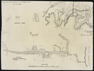 Photograph of a plan drawn by Captain Edward Brooke showing Maori entrenchments at Rangiriri taken by Imperial forces