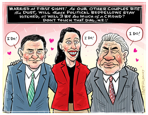 Married at first sight - James Shaw, Jacinda Ardern, and Winston Peters