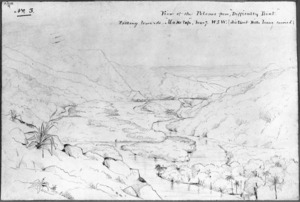 """[Drake, James Charles] 1821-1865? :View of the Pelorus from """"Difficulty Point"""" looking towards """"Moketap"""" [Maungatapu] bearg. WSW (distant hills being covered) [16 Jan 1844]"""