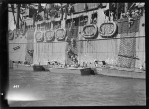 World War II soldiers in the Pacific practising boarding a ship