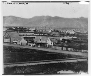 Panorama of houses in Christchurch looking towards the hills