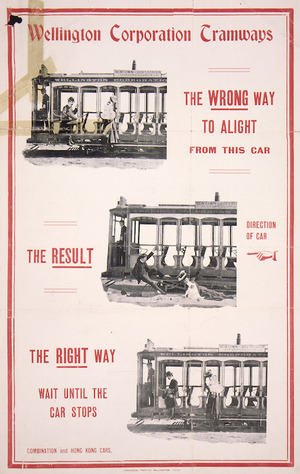 Wellington Corporation Tramways :The wrong way to alight from this car... the result ... the right way. Wait until the car stops. Lankshear, Printer, Wellington 13735 [ca 1910-1915].