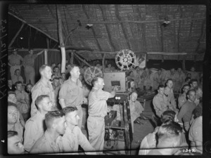 World War II soldiers watching a film, probably Pacific area