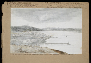 Pearse, John, 1808-1882 :Wellington (Thorndon Flat end) taken from JP's land on Wellington Terrace [1855 or 1856]
