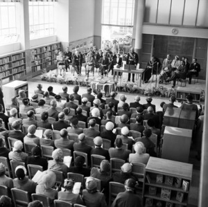 The Governor General, Sir Willoughby Norrie, speaking at the opening of the Lower Hutt War Memorial Library, 28 February 1956.