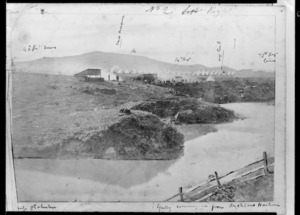 Carbery, Andrew Thomas H 1836-1870 (photographer?) :Camp, Otahuhu. Gully coming up from Auckland Harbour. 40th Regiment lines. Mess marquee. 14th Regiment. My tent. 70th Regiment lines. [1863 or 1864]