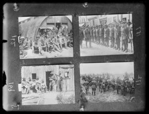 Duke of Connaught inspects the Victors of Messines; men of a New Zealand Field Ambulance Brigade outside the mess room; New Zealand soldiers engaged in forestry work outside their shantys; judging best pair of mules at the New Zealand Division horse show