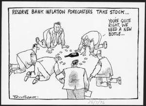 Scott, Tom, 1947- :Reserve Bank inflation forecasters take stock. [Evening post, 25 July 1996].