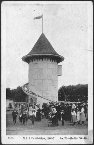 [Postcard]. N.Z.I. Exhibition, 1906-7. No. 23 - Helter skelter. Webb [photographer]. Smith & Anthony Limited [1906].