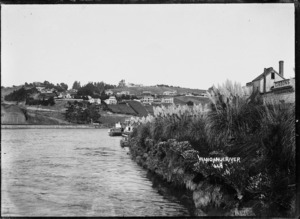 View looking down the Whanganui River, with Durie Hill and Durie Vale on the left bank