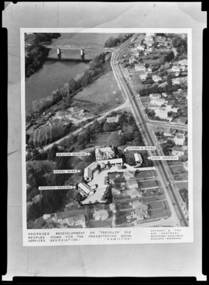 Composite of Trevellyn Home (old people's home) building development and site, Hamilton