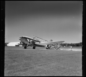 James Aviation DC3 top dressing plane on tarmac at Ardmore, Manukau City, Auckland Region