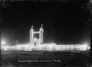 View of the Palace of Industries and towers, Auckland Exhibition, taken at night to show the illuminations