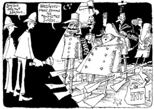 Brockie, Robert Ellison, 1932- :Bonjour, bonjour, bonjour... Messieurs - nous somme les touristes Suisse...' National Business Review, 2 September 1985.