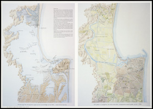 100 years ago [cartographic material] : plan showing Ahuriri Lagoon, Scinde Id. & surroundings -up to & at 1865 ;  100 years of progress : the same area after reclamations & earthquake action, 1965.