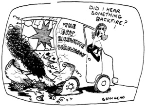 Bromhead, Peter, 1933- :Did I hear something backfire? Auckland Star, 31 July 1996.