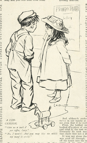"""Booth, Leonard Hampden, 1879-1974 :A concession. 1908 """"Exhibition sketcher"""" (Christchurch), Christmas issue, 1911."""