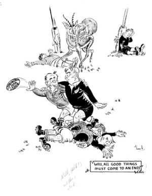 """Russell, Vance K, 1925-:""""Well. All good things must come to an end!"""" [1956 Springbok tour. 1956]"""