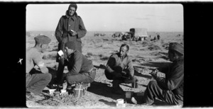 New Zealand soldiers having lunch during the Libyan advance, World War II
