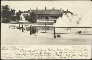 [Postcard]. Rotorua Sanatorium, N.Z. S.M. & Co.'s series. New Zealand postcard. [1904].