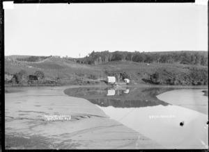 Waingaro Landing at the mouth of the Waingaro River, Raglan Harbour, 1910 - Photograph taken by Gilmour Brothers
