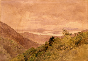[Richmond, James Crowe] 1822-1898 :[View of Waimea from above Nelson. 1869?]