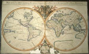 Mappe-monde geo-hydrographique, ou description generale du globe terrestre et aquatique en deux-plans-hemispheres, ou sont exactement remarquées en general toutes les parties de la terre et de l'eau, suivant le relations les plus nouvelles [cartographic material] / par le Sr. Sanson, Geographique Ordinaire du Roy.