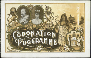 [Wellington Coronation celebrations]. Coronation programme. [Cover of Order of proceedings at the Basin Reserve, Thursday 26th June 1902]. Turnbull, Hickson and Gooder, lithos, Wgtn.