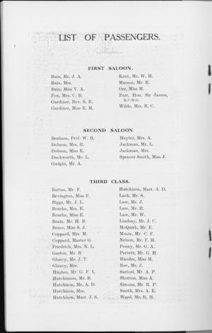 R.M.S. Remuera (1931) - List of passengers