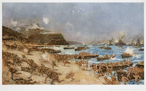 Dixon, Charles Edward, 1872-1934 :The landing at Anzac; April 25th, 1915. London, The Fine Art Society, 1916