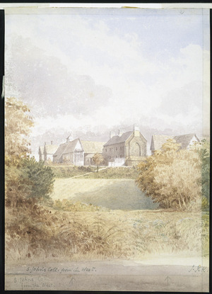 Kinder, John, 1819-1903 :St John's College from the West. [ca 1874].