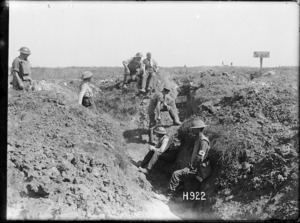 New Zealand regimental aid post in a captured trench at Puisieux, France