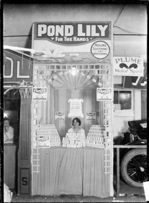 """Stall at a trade fair advertising and displaying """"Pond lily"""" hand cream"""