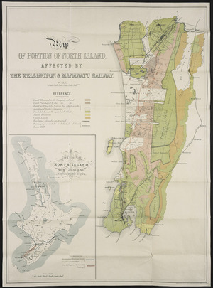 Map of portion of North Island affected by The Wellington and Manawatu Railway