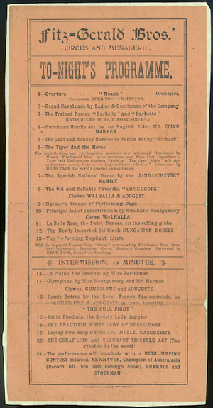 Fitzgerald Bros Circus and Menagerie :Fitz-gerald Bros.' circus and menagerie. To-night's programme. Harman & Jacka, printers [Adelaide. 1910s?]
