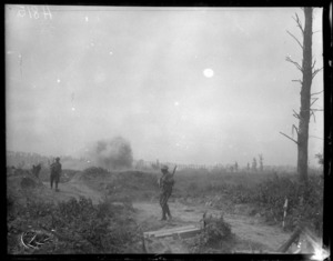 A shell bursting near New Zealand troops, Bailleul, World War I
