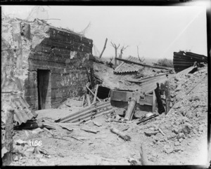 German 77mm gun emplacement destroyed during the Battle of Messines, Belgium, during World War 1