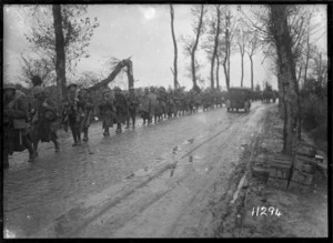 New Zealand troops on the way to the firing line in the St Jean sector, World War I