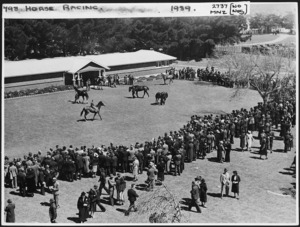 Crowd watching parade of yearlings at Trentham, Wellington - Photograph taken by the Evening Post