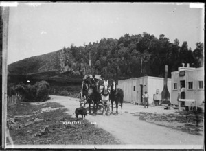 Coach and three outside Rotoma Refreshment Rooms - Photograph taken by Gilmour Brothers