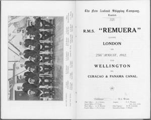 R.M.S. Remuera (1932) - Officers' photograph and Passenger list (title page)